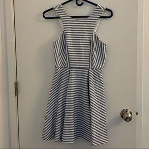 Blue and white skater dress